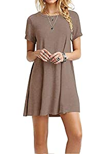 I2CRAZY Women's Short Sleeve Pockets Casual Plain T-Shirt Loose Dresses(07-Short Sleeve-Coffee,S)