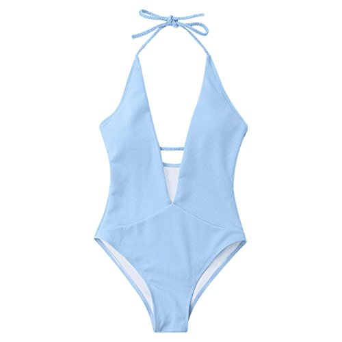 Toronto Pearl Blue (Noon-Sunshine Sexy Solid Color V Type Siamese Special Fabric Backless Bikini Swimwear Swimsuit,Blue,M)