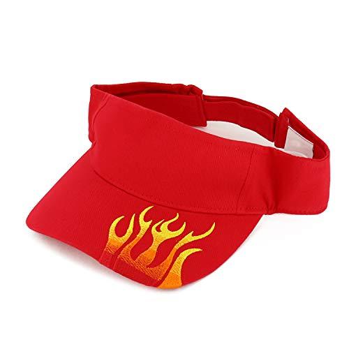 Flame Embroidered Visor - Armycrew Flame Design Embroidered Bill Adjustable Cotton Visor Hat - Red
