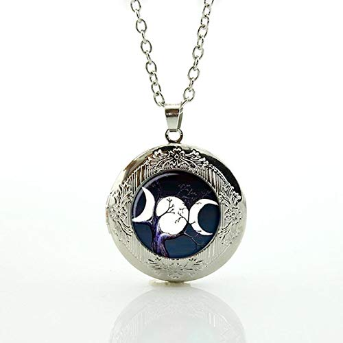 Pendant Necklaces - Wholesale Charms Triple Moon Goddess Locket Pendant Necklace Galaxy Planet Star Nebula Statement Men Women Jewelry N475 - by Mct12-1 PCs