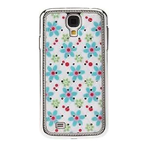 TY-Small Blue Flower Pattern lentejuelas estrellada Diamond Back Case textura para Samsung i9500 Galaxy S4