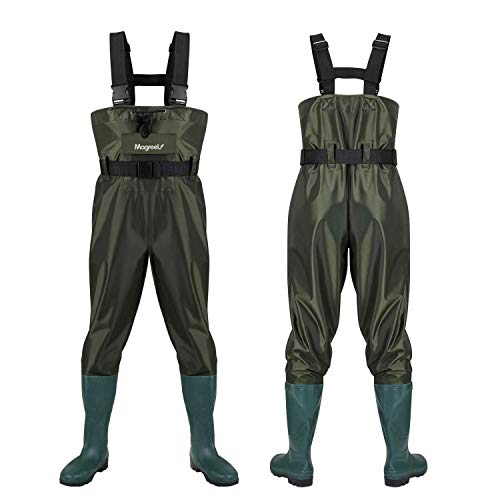 Fishing Chest Waders for Men with Boots and Womens - Waterproof Outfit with Belt, Front Pocket Zipper, and Knee Padding for Extra Protection - Comfy and Leak-Proof Protective Gear (US Men 9)