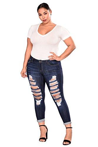 Plus Mujer de Para Vaqueros Jeans Stretch Skinny pitillo estiramiento alta pantalón Luckywe tamaño cintura qxO5wISfS
