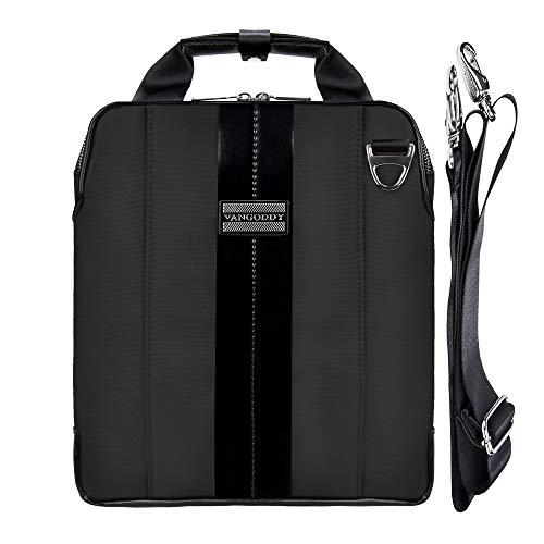 11-12.9 Inch Laptop & Tablet Sleeve Case Shoulder Bag, Waterproof Nylon & Leather Vertical Style Ipad Crossbody Messenger Satchel Bag Handbag for iPad Pro Surface Pro MacBook Air Samsung Tab