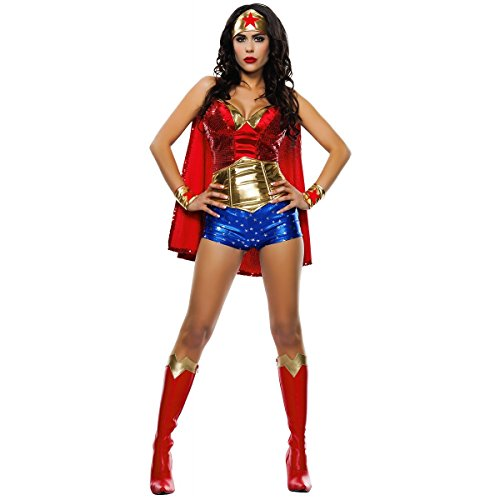 Starline Women's Wonder Lady Sexy 5 Piece Costume Set with Headpiece, Red/Gold, Medium -