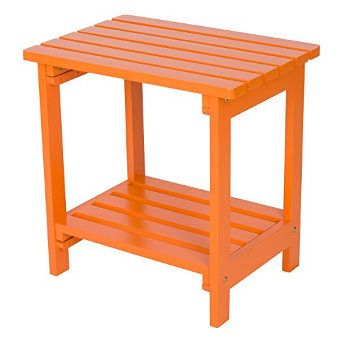 Shine Company Rectangular Side Table, Tangerine
