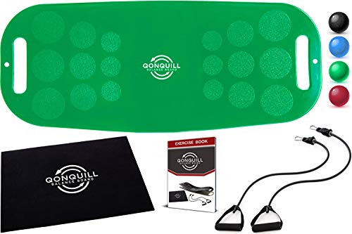 Balance Board Set | Premium Quality Fit Board + Workout Mat + 2 Resistance Bands + Exercise Book | Core, Abs, Arms, Legs Toning - Improve Balance with a Simply Twist Home Fitness Exercise Equipment