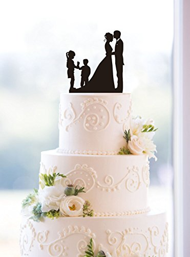 Wedding Anniversary Cake Topper couple with 2 kids (Girl and Boy (Black))