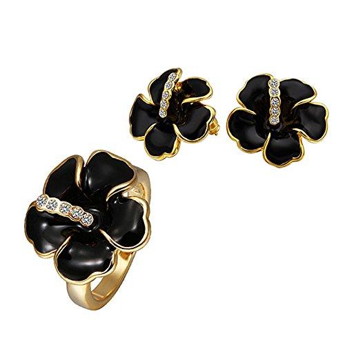 Vente chaude Femmes Mode plaqué or 18k ensemble de bijoux exquis Boucles d'oreilles + Ring- S351