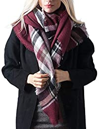 MissShorthair Women's Plaid Blanket Scarf Big Tartan Scarf with tassel decoration