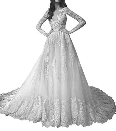 Train Bridal Dresses Aurora Lace Wedding Sexy White 2016 Backless Long 0da1w7q