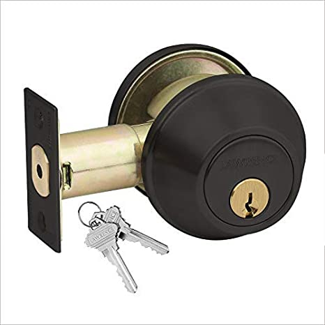 by Lawrence Hardware LH560 Fire Rated Exceeds Grade 2 Specifications Preferred by Locksmiths Adjustable 2-3//8 and 2-3//4 Backset Heavy-Duty Commercial Single Cylinder Hardened Deadbolt Lock