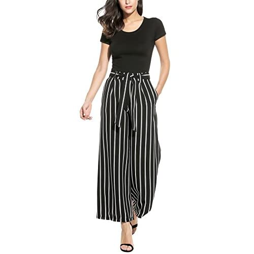 Zeagoo-Womens-Stripe-Flowy-Wide-Leg-High-Waist-Belted-Palazzo-Long-Pants
