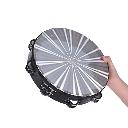 Muslady 8 inch /10 inch Wooden Radiant Tambourine Handbell Hand Drum with Double Row Jingles Reflective Drum Head Percussion Instrument Musical Toy