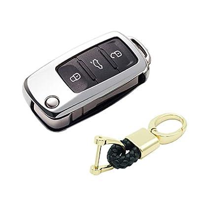 Royalfox(TM) Luxury 2 3 Buttons Soft TPU flip Remote Key Fob case Cover for VW Volkswagen Jetta GTI Passat Golf Bora Polo Tiguan Touareg Beetle Multivan Sagitar Passat,Skoda Keychain (Silver): Automotive