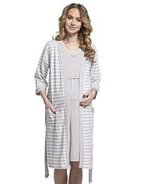 Happy Mama. Womens Maternity Nursing Nightdress Robe Set Stripes Pattern. 190p