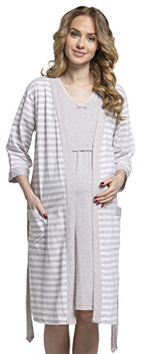 (Happy Mama. Womens Maternity Nursing Nightdress Robe Set Stripes Pattern. 190p (Beige, US 8/10, L))