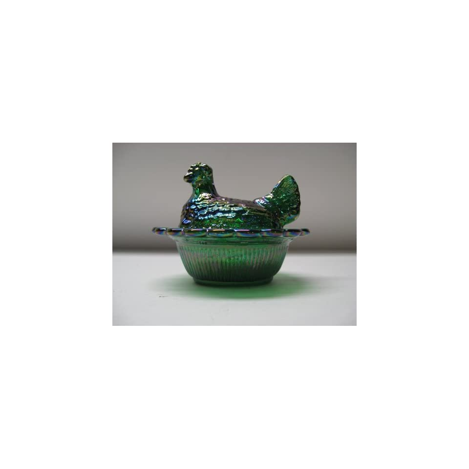 Mini Green Carnival Glass Hen on Nest Chick Salt Covered Dish