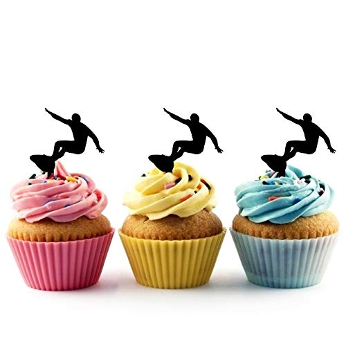 TA1174 Surfer Male Silhouette Party Wedding Birthday Acrylic Cupcake Toppers Decor 10 pcs -