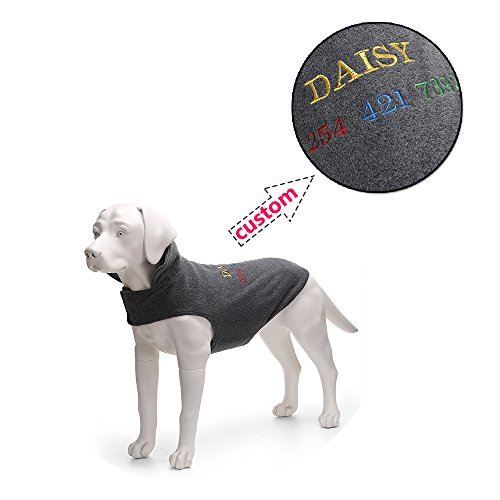 Amakunft Customize Fleece Dog Vest with Name, Embroidered Name Phone Number Dog Coat, Personalized ID Dog Clothes for Small Medium and Large Dogs