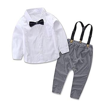 71f03dd78c515 男の子 洋装フォーマル ベビー服 ボーイズ 長袖 フォーマル スーツ シャツ + サロペット 上下セット 子供服 0