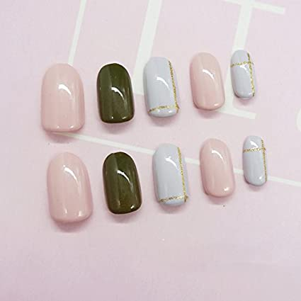 yunail 24pcs dulce oro línea sólida verde ovalada uñas postizas Tips