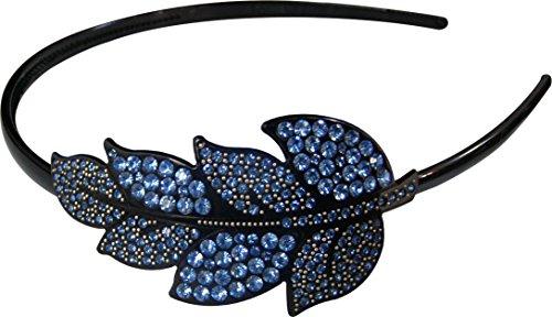 Twinkle Crystal Rhinestone Headband - Leaf x 1 (Blue)