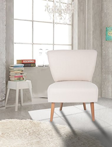 Beige Fabric Accent Chair Lounge Living Bedroom Room with Wood legs