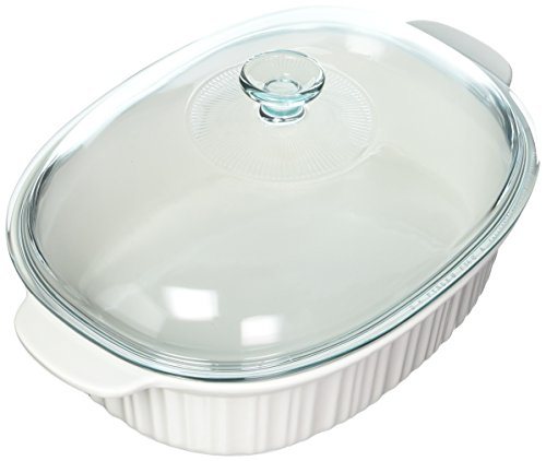 Corningware 4qt Roaster With Cover, White 4 Quart Oval Roaster