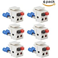 TENINYU Dual Speaker Module keystone White,Installation Equipment/Wall Jacks/Inserts (6 Pack)