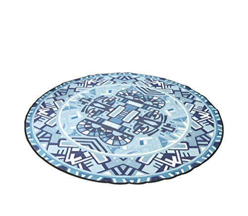 MIMYDT ZMM Round Carpet, Blue Original Nordic Round Carpet Nationality Totem Printing Simple Washable Sample Room Round Pad Rocking Chair Mat 8080cm, 100100cm, 120120cm, 150150cm (Size : ()