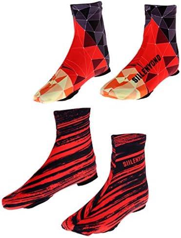 2ペア防水サイクリングオーバーシューズ反射靴カバー暖かいブーツ