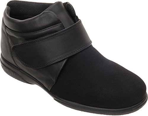 Cosyfeet Julia Boots - Extra Roomy (6E Width Fitting) Black Elastane With Leather