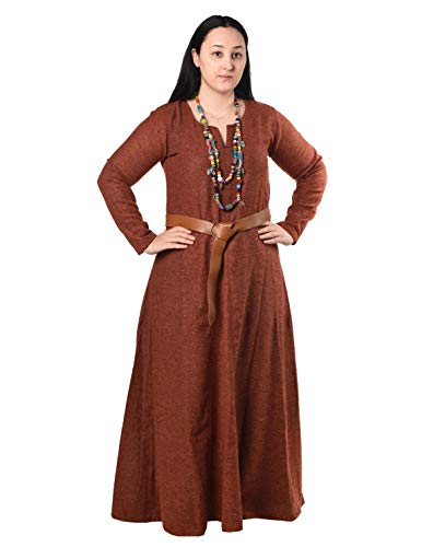 Wilma Medieval Viking Wool Dress by Calvina Costumes - Made in Turkey, ORG-M Orange ()
