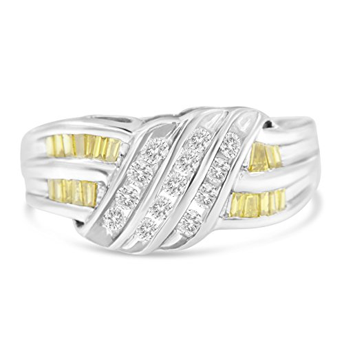 Original Classics 14k White Gold Color Treated Round and Baguette Cut Diamond Swirl Ring(0.75 cttw, H-I Color, I1-I2 Clarity)