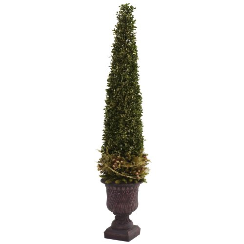 Nearly Natural 5368 Mixed Golden Boxwood and Holly Topiary with Urn, Green