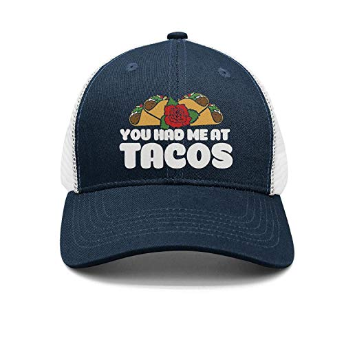 (Unisex Rose You Had Me at Tacos Mesh Sandwich Mesh Baseball Cap Adjustable Snapback Dad Hat)