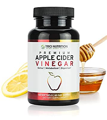 Apple Cider Vinegar Capsules with Cayenne, Lemon, Honey - 60 Softgels, 520mg Detox Cleanse Drink-in-a-Pill - Appetite Suppressant - Blood Sugar Support - Blood Pressure - Detox