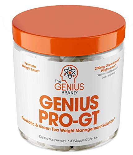 Genius Probiotics for Weight Loss w/ Green Tea Extract for Women & Men - Shelf Stable Probiotic Natural EGCG Fat Burner Supplement, Digestive Health Pills for Bloating Relief and Belly Reduction -30sv (Highest Rated Probiotics)