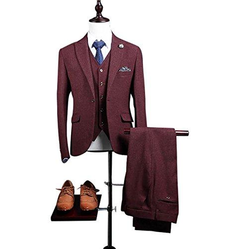Classic Tweed Herringbone Wool Blend Men Suit 3 Pieces Burgundy Vintage Tailored Fit Blazer ()