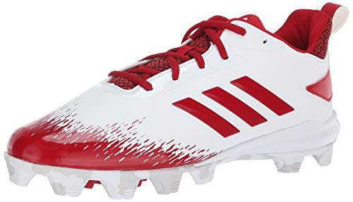 adidas Men's Adizero Afterburner V Baseball Shoe, White/Power red/Grey, 9 M ()