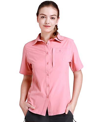 CAMEL CROWN Women's Quick Dry Shirts Short Sleeve UV Sun Protection Shirts Breathable Button Down Fishing Shirts for Outdoors, Hiking, Camping, Travel (Clothing Magellans)