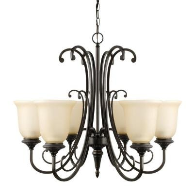 Chandelier 6-Light with Amber Glass Shade Beverly in Oil Rubbed Bronze Finish, Gives Perfect Ambiance to Any Room