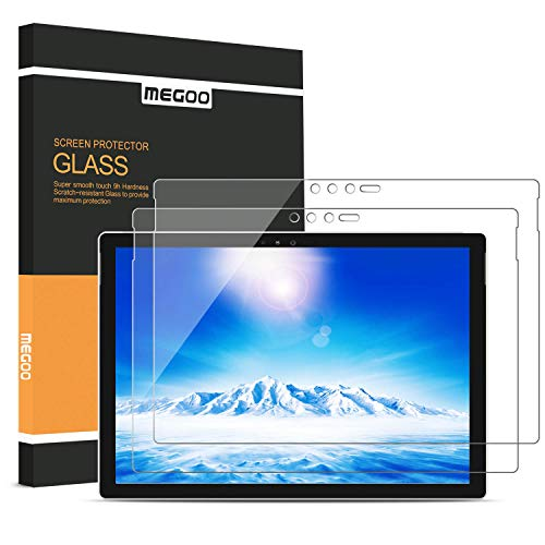 [2-Pack] MEGOO Surface Pro 6 Screen Protector, [Friendly Touching] [Easy Installation] [High Sensitivity] [HD Clear] Tempered Glass, Compatible for Microsoft New Surface Pro 6 Pro 5/4 12.3 Inch