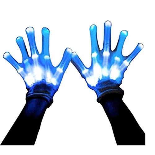 Led Skeleton Gloves, 12 Color Changeable Light Up Shows Halloween Costume, Novelty Christmas Gift (Skeleton Purple)