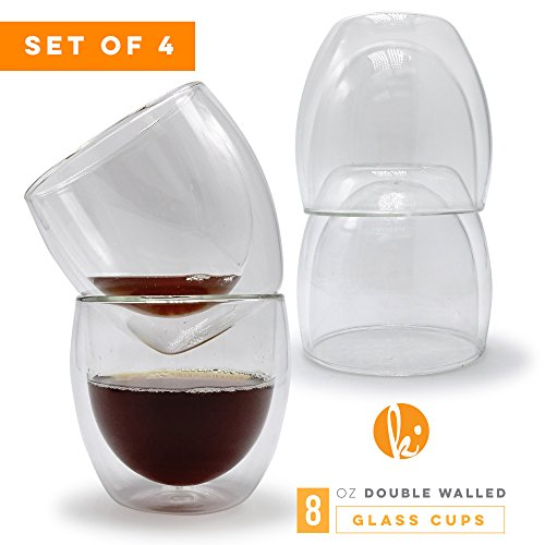 Glass Coffee or Tea Mugs Drinking Glasses Set of 4 - 8oz Double Walled Thermo Insulated Cups for Espresso Latte Cappuccino