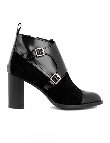 NATALIA BLANCO Botines Tacón Hebillas Negros - Color - Negro, Talla Zapatos Mujer - 41: Amazon.es: Zapatos y complementos