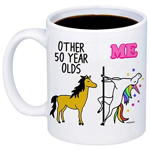 MyCozyCups 50th Birthday Gift - Other 50 Year Olds Me Unicorn Coffee Mug - Funny 11oz Cup For Grandma, Mom, Sister, Best Friend, Women, Her - Happy Fiftieth Birthday Gift - Born In 1969, 1968, 1970 (Fiftieth Birthday)