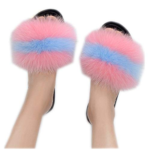 Slides Qmfur Shoes Toe Fox e Multicolor Slippers Real Women Fur Outdoor Soft Open Indoor Heeled High Girls qrqYA