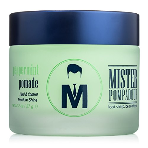 Mister Pompadour Peppermint Pomade | Water-Based Pomade For Men | Medium Hold and High Shine | Natural Ingredients | 2oz (Best Hair Pomade For Pompadour)